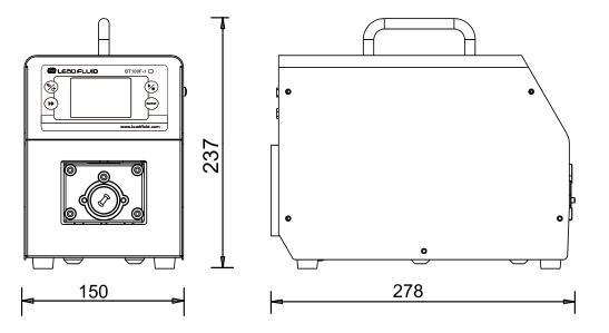 BT100F-1分配型智能蠕动泵尺寸图
